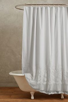 Sewing Curtains Slide View: Caprice Shower Curtain - This stunning curtain - from interior design favorite Pom Pom at Home - features ornate embroidery and classically feminine cotton lace. Lace Shower Curtains, Shabby Chic Shower Curtain, Bathroom Shower Curtains, Shower Curtain White, White Shower, Bath Shower, White Bathroom, Farmhouse Shower Curtain, Shabby Chic Curtains