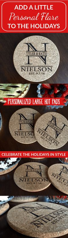 Your kitchen is the heart of your home, and nothing makes it more fun than our Personalized Large Kitchen Hot Pads. They bring baking to a fun new level when your meal is displayed on these amazing hot pads. The large 7 inch diameter protects your tabletop from hot items. Made from high quality cork, these will last a very long time. This deal includes two identical personalized hot pads. Simply let us know the last name you would like on your hot pads, and we'll do the rest! Gifts For Family, Gifts For Friends, Cute Gifts, Diy Gifts, Kitchen Hot Pads, Wood Burning Crafts, Cool Kitchen Gadgets, Wooden Crafts, Thank You Gifts