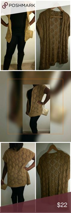 """Rubbish Short Sleeve Crotchet Flyaway Cardigan Featuring a half Milano collar & intricate crotchet style, this short sleeve cardigan is perfect for your sunny-day wardrobe!   Measures 28"""" long Color: Mustard  Purchased from Nordstrom & worn twice to my night classes at college. Rubbish Sweaters Cardigans"""