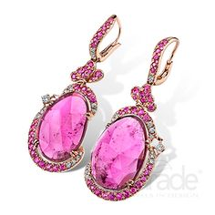 Rubellite tourmaline slices are enlivened by vibrant pink sapphires and shimmering diamonds. Parade Designs - Parade In Color  - Style: E3375A-FS