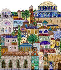 Jerusalem Detail I by Irina Charny Mosaics. Mosaic Artwork, Mosaic Wall, Mosaic Glass, Mosaic Tiles, Glass Art, Mosaics, Tiling, Mosaic Crafts, Mosaic Projects