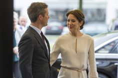 Crown Prince Frederik and his wife Crown Princess Mary Of Denmark arrive at a furniture shop during their visit to Germany on May 21, 2015 in Munich, Germany