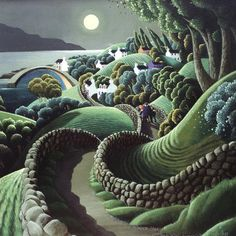 The winding road home, George Callaghan Art Painting, Folk Art, Surreal Art, Naive Art, Whimsical Art, Art, Irish Art, Ethereal Art, Landscape Art