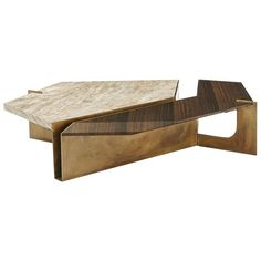 Maurizio Manzoni Coffee / Cocktail Table - Stratus Centre Aged Asian Contemporary Brass, Travertine, Wood