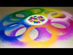 How to make very unique & colourful rangoli in just less than 5 min | Very easy & quick rangoli | - YouTube