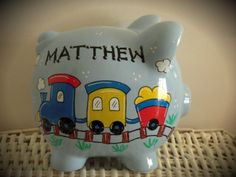 Personalized Hand Painted Piggy Bank With Train by thepaintedpiggy, $30.00