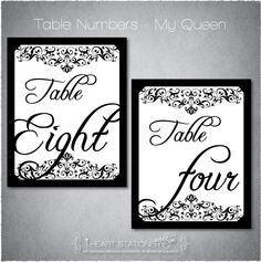 Table Numbers Wedding - Printable
