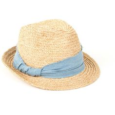 SCOOP Raffia Chambray Trim Fedora