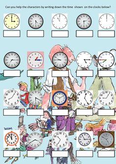 Roald Dahl Time Sheet 1 Roald Dahl Activities, Time Activities, School Projects, School Ideas, Visible Learning, Numeracy, Maths, Crocodile, Classroom Ideas