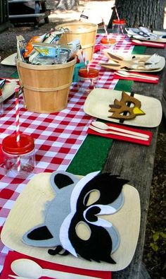 Woodland Birthday Party table with masks! See more party planning ideas at CatchMyParty.com!