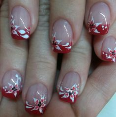 Terrific No Cost Nail Art Red tips Concepts Nails utilised in the future throughout several colours. Red, reddish plus red. Xmas Nails, Red Nails, Christmas Nails, Fancy Nails, Cute Nails, Pretty Nails, Nail Tip Designs, French Nail Designs, Art Designs