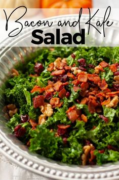 This Easy Kale Salad is bursting with fall flavors. The bacon adds the perfect touch to this healthy salad. A perfect addition to your holiday table. Healthy Side Dishes, Healthy Salads, Healthy Eating, Healthy Recipes, Yummy Recipes, Free Recipes, Salad Places, Salad With Sweet Potato, Potato Salad