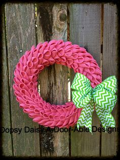 "16"" petal bubble pink burlap wreath with lime chevron bow, shabby chic burlap bubble wreath, year around wreath, burlap wreath"