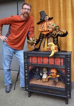 Scott Smith with his All Hallows' Eve Puppet Theatre for the 8th annual Ghoultide Gathering