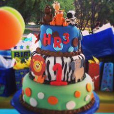 "Zoo theme cake (My son's first birthday, nickname ""HR3"")"