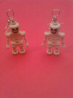 Lego Skeleton Earrings by Missconstrued on Etsy, $25.00