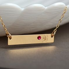 Personalized bar necklace with birthstone. Custom engraved bar with your name, initial, monogram, date, roman numeral, number, symbol etc. Available is 14k gold filled, rose gold filled and starling silver.