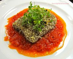 *** Pecan Crusted Mahi with Roasted Red Pepper Coulis ***  http://www.saucygirlskitchen.com/2013/12/02/pecan-crusted-mahi-with-roasted-red-pepper-coulis/