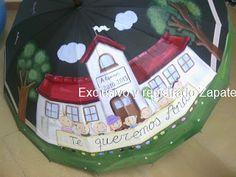 Paraguas pintado a mano, unico y personalizado, paraguas originales, paraguas personalizado.