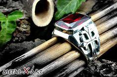 Sterling-Silber-925-Siegelring-m-Onyx-o-rotem-Zirkonia-Freimaurer-Lilienkreuz