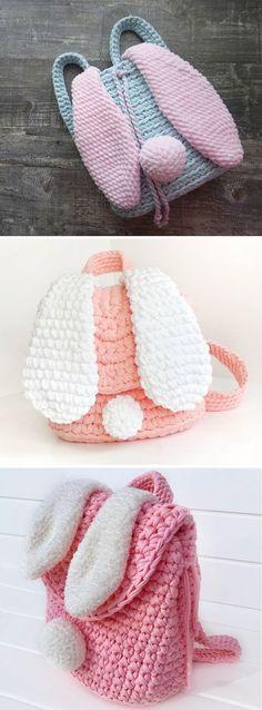 Crochet bag 367606388332902060 - Crochet Backpack – Bunny Ears – Design Peak Source by Crochet Backpack Pattern, Bag Crochet, Crochet Handbags, Crochet Bunny, Crochet Purses, Crochet Beanie, Love Crochet, Crochet For Kids, Crochet Crafts