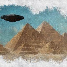 UFO Over Pyramids Canvas Prints, Framed Prints, Art Prints, Alien Sightings, Esoteric Art, Flying Saucer, Ancient Aliens, Ufo, Art Boards