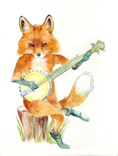 Fox Playing Banjo print of my original watercolor by QuickPony, $18.00