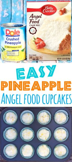 Pineapple Cupcakes Recipes This Easy Angel Food Cupcake for Kids and Adults is just 2 Ingredients Top with cool whip and coconut flakes for the ultimate tropical treat Go. Angel Cake, Angel Food Cake, Angel Food Cupcakes, Mini Cupcakes, Cupcake Cakes, Köstliche Desserts, Dessert Recipes, Healthy Cupcake Recipes, Food Deserts