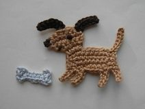 Baby Knitting Patterns Dress Crochet application 'dog with bone' patch Baby Knitting Patterns, Crochet Applique Patterns Free, Crochet Bookmark Pattern, Crochet Bookmarks, Hand Embroidery Patterns, Crochet Motif, Diy Crochet, Crochet Stitches, Crochet Baby