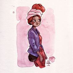 "Ira Sluyterman van Langeweyde  ""(T)urban Fashion Girl colored ink with water and brush on heavy sketch-paper I.S."""