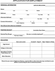 The job application form is a free employment document in PDF format. Potential employees can fill out this form and provide you with personal details and work history. Life Skills Lessons, Life Skills Activities, Teaching Life Skills, Job Application Cover Letter, Job Application Template, Cover Letter For Resume, Job Applications For Teens, Printable Job Applications, Employment Form