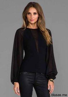 Blusas negras de manga larga para fiesta 2014 - 19