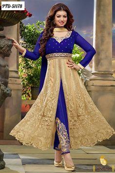 Z Fashion Trend: AYESHA IN CREAM AND BLUE NET PARTY WEAR ANARKALI