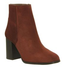 Office Ideal Square Toe Boots (170 CAD) ❤ liked on Polyvore featuring shoes, boots, ankle booties, ankle boots, rust suede, women, short suede boots, high heel bootie, tall suede boots and high heel ankle boots