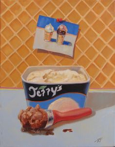 "This is part of a series called ""Channeling Thiebaud : Two Scoops"".  I find inspiration from the artist Wayne Thiebaud and try to channel him whenever I do my dessert paintings.  This an oil on canvas and is 18x24."