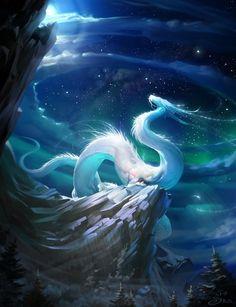 Dragon Spirit — Art by Vera Velichko Mystical Animals, Mythical Creatures Art, Magical Creatures, Beautiful Creatures, Chihiro Y Haku, Mythical Dragons, Fantasy Beasts, Dragon Artwork, Dragon Drawings