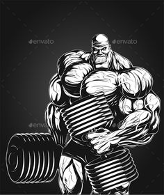 Vector illustration, bodybuilder doing exercise with dumbbells for biceps. Vector graphics Install any size without loss of quality. ZIP archive contains: - one Bodybuilding Logo, Bodybuilding Pictures, Bodybuilding Motivation, Dojo, Arte Do Hulk, Muscle Bodybuilder, Fitness Motivation, King Kong, Vector Graphics