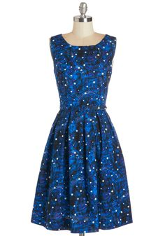 Glow forth and conquer in this gorg galaxy print dress, complete with glow-in-the-dark stars!