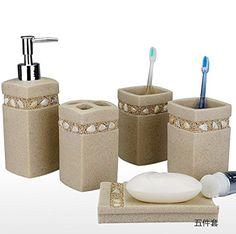 WYMBS Christmas gift simple Europeanstyle Resin bathroom toiletries five piece mug set B