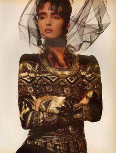 "Vogue US October 1985  ""Paris Superlatives…""  Model: Gail Elliott  Photographer: Irving Penn"