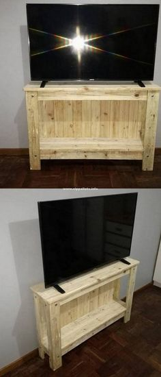 Inexpensive Diy Pallets TV Console Ideas Pallet Barn, Diy Pallet Bed, Wooden Pallet Furniture, Diy Pallet Projects, Diy Bed, Wooden Pallets, Wooden Diy, Furniture Projects, Barn Wood