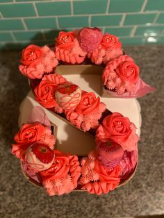 Monogram Cupcakes, Truck Birthday Cakes, Cream Cheese Buttercream, Red Velvet Cupcakes, Cake Decorating Tips, Monogram Letters, No Bake Cake, Sweet Treats, Birthdays