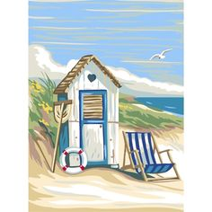 The Seaside: Tapestry (Royal Paris, Beach Watercolor, Watercolor Paintings, Beach Paintings, Tattoo Watercolor, Beach Canvas, Canvas Art, Beach Huts Art, Beach Illustration, Seaside Art