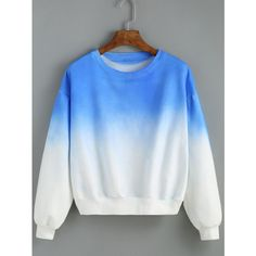 Round Neck Ombre Loose Blue Sweatshirt ($14) ❤ liked on Polyvore featuring tops, hoodies, sweatshirts, blue, color block sweatshirt, ombre top, loose sweatshirt, loose pullover and pullover sweatshirts