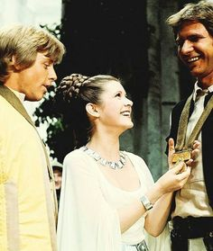 Luke Skywalker, Princess Leia and Han Solo... Mark Hamill, Carrie Fisher and Harrison Ford. Star Wars