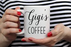 Pregnacy Announcement, Gigi's Coffee, Coffee Mug, White Coffee Mug, Printed Mug, Cute Mug, Gift For Her, Gift for Mom, Drinkware, Gigi by TIMBERANDLACECO on Etsy https://www.etsy.com/listing/479808548/pregnacy-announcement-gigis-coffee