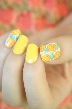 Pineapples accent nails and yellow nails. #nailart
