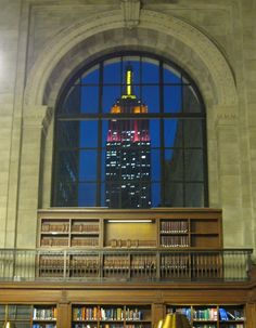 View of Empire State Building from inside of NYC Public Library