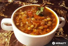 Krétai lencseleves One Pot Meals, Bruschetta, Chana Masala, Soup Recipes, Food And Drink, Lunch, Cooking, Health, Ethnic Recipes