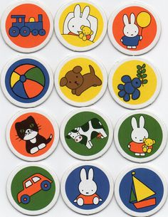 Set of 12 Dick Bruna round memory playing cards Miffy